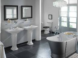 Modern bathroom with freestanding bath and two basins